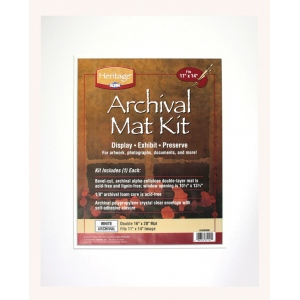 "Heritage Arts™ Archival Series 16"" x 20"" Pre-Cut Double Layer White Mat Kit: White/Ivory, Frame, Pre-Cut Mat Board, 16"" x 20"", 1/8"", Presentation Board, (model H1620ADW), price per each"