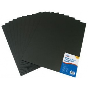 "Alvin® Black on Black Presentation Boards 11"" x 14"" (Retail Pack): Black/Gray, Sheet, 10 Sheets, 11"" x 14"", Presentation Board, (model PB1114-10), price per 10 Sheets"