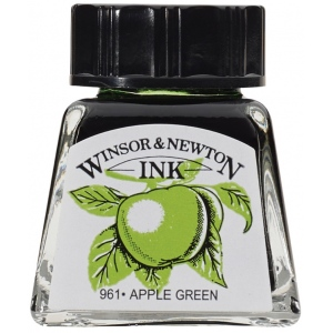 Winsor & Newton™ Drawing Ink 14ml Apple Green: Green, Bottle, 14 ml, Drawing Ink