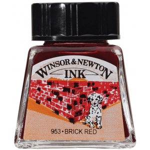 Winsor & Newton™ Drawing Ink 14ml Brick Red: Red/Pink, Bottle, 14 ml, Drawing Ink, (model 1005040), price per each