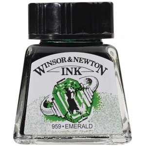 Winsor & Newton™ Drawing Ink 14ml Emerald: Green, Bottle, 14 ml, Drawing Ink, (model 1005235), price per each