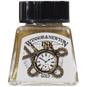Winsor & Newton™ Drawing Ink 14ml Gold: Metallic, Bottle, 14 ml, Drawing Ink