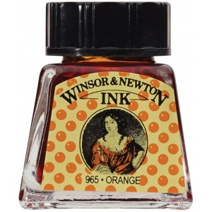 Winsor & Newton™ Drawing Ink 14ml Orange: Orange, Bottle, 14 ml, Drawing Ink, (model 1005449), price per each