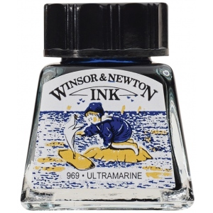 Winsor & Newton™ Drawing Ink 14ml Ultramarine: Blue, Bottle, 14 ml, Drawing Ink, (model 1005660), price per each