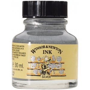 Winsor & Newton™ Drawing Ink 30ml Silver: Metallic, Bottle, 30 ml, Drawing Ink, (model 1010617), price per each