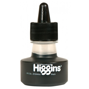 Higgins® Non-Waterproof Black Ink: Black/Gray, Bottle, 1 oz, (model SN44021), price per each