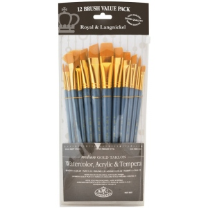 Royal & Langnickel® 9300 Series Zip N' Close™ 12-Piece Gold Taklon Brush Sets