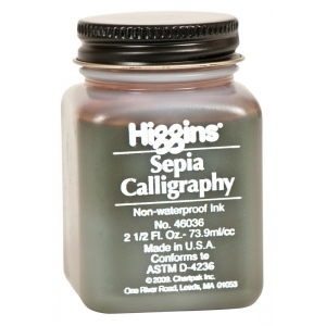 Higgins® Non-Waterproof Sepia Calligraphy Ink: Brown, Jar, Dye-Based, Fountain, 2.5 oz, (model SN46036), price per each