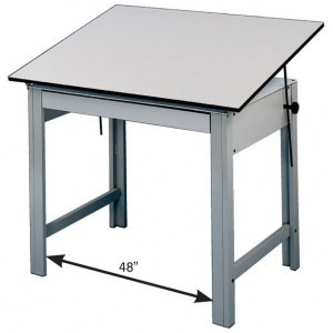 "Alvin® DesignMaster Office Height Drawing Table: 0 - 45, Black/Gray, Steel, 28"", White/Ivory, Melamine, 36"" x 48"""