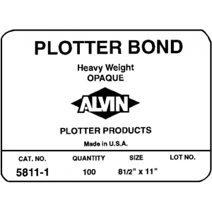 "Alvin® Heavyweight Opaque Plotter Bond 50-Sheet Pack 24 x 36: White/Ivory, Sheet, 50 Sheets, 24"" x 36"", (model 5811-10), price per 50 Sheets"