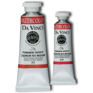 Da Vinci Artists' Watercolor Paint 37ml Cadmium Red Medium: Red/Pink, Tube, 37 ml, Watercolor, (model DAV211), price per tube