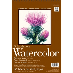 "Strathmore® 400 Series 12"" x 18"" Cold Press Wire Bound Watercolor Pad: Wire Bound, White/Ivory, Pad, 12 Sheets, 12"" x 18"", Cold Press, 140 lb, (model ST440-3), price per 12 Sheets pad"