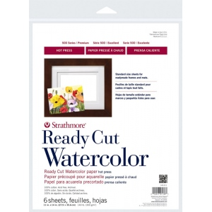 Strathmore® 500 Series Hot Press Ready Cut Watercolor Sheet Pack