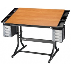 "Alvin® CraftMaster™ II Deluxe Art Drawing and Hobby Table Black Base with Cherry Woodgrain Top: 0 - 30, Black/Gray, Steel, 28"" - 32"", Brown, Wood, 28"" x 40"""