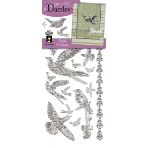 "Dazzles™ Stickers Silver Bird: Metallic, 4"" x 9"", Outline, (model HOTP1852), price per each"