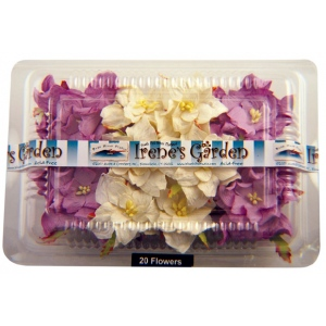 "Blue Hills Studio™ Irene's Garden™ Box O'Gardenias Dimensional Paper Flowers Lilac/White: Purple, White/Ivory, Paper, 2"", 3"", Dimensional, (model BHS107517), price per box"