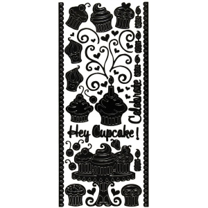 "Dazzles™ Stickers Hey Cupcake Black: Black/Gray, 4"" x 9"", Outline, (model HOTP2012), price per each"