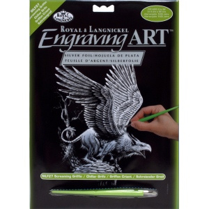 "Royal & Langnickel® Engraving Art Set Silver Foil Griffin: 8"" x 10"", Metallic, (model SILF27), price per set"