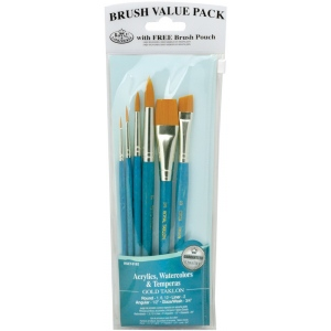 Royal & Langnickel® 9100 Series  Zip N' Close™ Teal Blue 6-Piece Brush Set 11: Short Handle, Taklon, Angular, Glaze, Liner, Round, Acrylic, Tempera, Watercolor