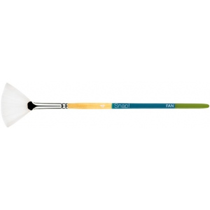 Princeton™ Snap! White Taklon Short Handle Brush Watercolor and Acrylic Brush Fan 4: Short Handle, Taklon, Fan, Acrylic, Watercolor, (model 9850FN-4), price per each