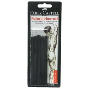 Faber-Castell® Natural Willow Charcoal Stick 6-Pack: Black/Gray, Stick, 7 mm - 12 mm, Willow, (model FC129398), price per pack