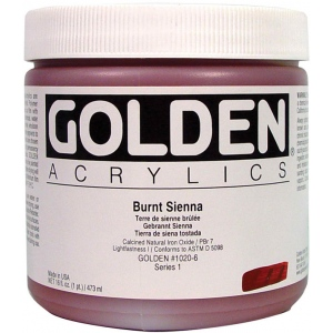 Golden® Heavy Body Acrylic 16 oz. Burnt Sienna: Brown, Jar, 16 oz, 473 ml, Acrylic, (model 0001020-6), price per each