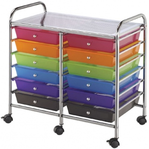 "Blue Hills Studio™ Storage Cart 12-Drawer (Standard) Multi-Colored: Multi, 13 5/8""l x 9 5/8""w x 5/8""h, Plastic, 12-Drawer, 15 1/4""d x 23 5/8""w x 26""h"