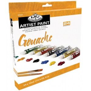 Royal & Langnickel® 24-Color Gouache Paint Set: Multi, Tube, 12 ml, Gouache, (model RGOU24), price per set