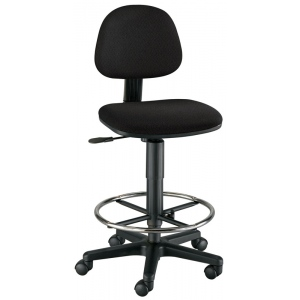 "Alvin® Budget Task Chair Drafting Height: No, Black/Gray, Foot Ring Included, 24"" - 29"", Fabric, (model CH222-40DH), price per each"