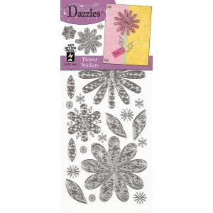 "Dazzles™ Stickers Silver Flower: Metallic, 4"" x 9"", Outline, (model HOTP1846), price per each"