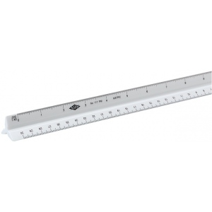 Alvin® 110 Series 30cm High Impact Plastic Metric Triangular Scale: White/Ivory, Plastic, 30 cm, Metric