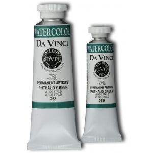 Da Vinci Artists' Watercolor Paint 37ml Phthalo Green: Green, Tube, 37 ml, Watercolor, (model DAV268), price per tube