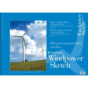 "Strathmore® Windpower™ 18"" x 24"" Wire Bound Sketch Pad: Wire Bound, White/Ivory, Pad, 40 Sheets, 18"" x 24"", 60 lb"
