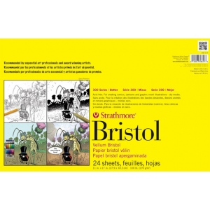 "Strathmore® 300 Series Sequential Art Bristol Paper 11"" x 17"": Tape Bound, White/Ivory, Pad, 24 Sheets, 11"" x 17"", Smooth, Sequential Art Bristol, 100 lb, (model ST342-17), price per 24 Sheets pad"
