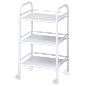 "Blue Hills Studio™ Storage Cart 3-Shelf White: White/Ivory, Plastic, 3-Shelf, 12""d x 4 1/4""w x 29 3/4""h"