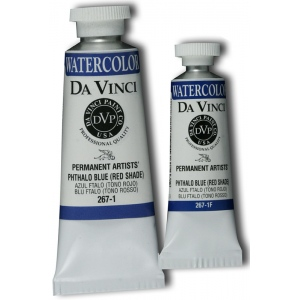 Da Vinci Artists' Watercolor Paint 15ml Phthalo Blue Red Shade: Blue, Tube, 15 ml, Watercolor
