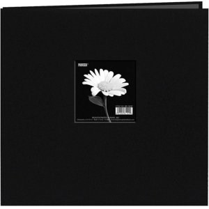 "Pioneer® 12 x 12 Fabric Frame Scrapbook Deep Black: Black/Gray, Fabric, 10 Page Protectors, 12"" x 12"""