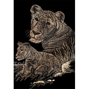 "Royal & Langnickel® Engraving Art Set Copper Foil Lioness & Cub: 8"" x 10"", Metallic, (model COPF11), price per set"