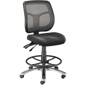 "Alvin® Argentum Mesh Back Chair Drafting Height: No, Black/Gray, Foot Ring Included, 24"" - 29"", Fabric, (model CH728-45DH), price per each"