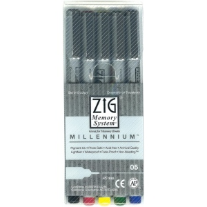 Zig®  Memory System® Millennium™ 5-Piece Pen Set : Black/Gray, Pigment, Fine Nib, (model MS05/5V), price per set