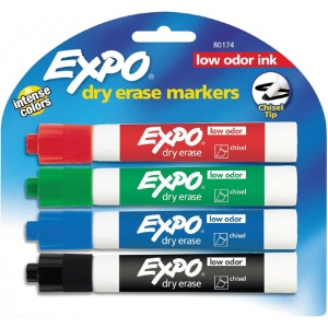 Expo® Low Odor Dry Erase Marker 4-Piece Chisel Nib Set: Multi, Chisel Nib, (model SN80174), price per set