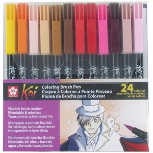 Koi™ Coloring Brush Pen 24-Color Set: Multi, Water-Based, Bold Nib, Fine Nib, Medium Nib, Brush Pen, (model XBR-24SA), price per set