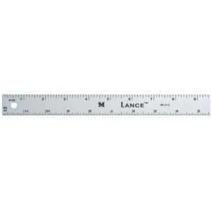 "Lance® 12"" Graduated Aluminum Ruler: Metallic, Aluminum, 12"", General Purpose"