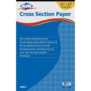 "Alvin® Cross Section Paper 8"" x 8"" Grid 50-Sheet Pad"