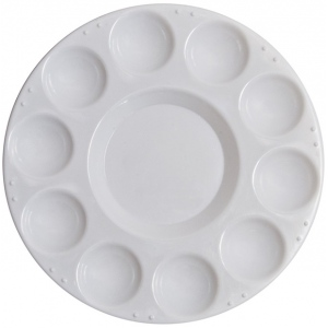 "Richeson 10 Well Round Tray w/ Cover: White/Ivory, Cover, Plastic, 10 Wells, Round, 7 1/2"", (model 400220), price per each"