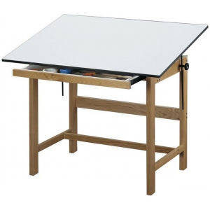 "Alvin® Titan Solid Oak Drafting Table Natural Finish  36"" x 48"" x 37"": 0 - 45, Brown, Oak, 37"", White/Ivory, Melamine, 36"" x 48"""