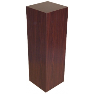 "Xylem Mahogany Stained Wood Veneer Pedestal: 23"" x 23"" Base, 24"" Height"