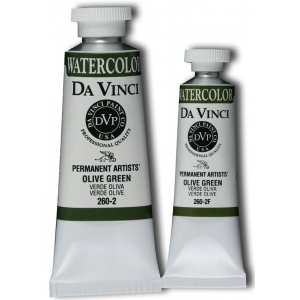 Da Vinci Artists' Watercolor Paint 15ml Olive Green: Green, Tube, 15 ml, Watercolor, (model DAV260-2F), price per tube