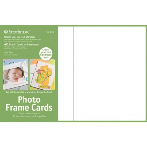 "Strathmore® Photo Frame Cards 40-Pack White: White/Ivory, Envelope Included, Card, 40 Cards, 5"" x 6 7/8"", 80 lb, (model ST105-250), price per 40 Cards"