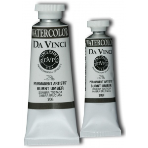 Da Vinci Artists' Watercolor Paint 15ml Burnt Umber: Brown, Tube, 15 ml, Watercolor, (model DAV206F), price per tube